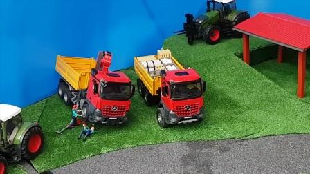 拖拉机和卡车玩具运输货物