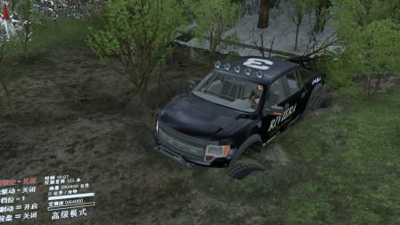 旋转轮胎:四驱皮卡车,在泥潭中被困,进退两难啊