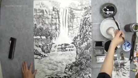 国画山水中悬崖绝壁怎么画?瀑布只需留白!山清峡客实力教国画!