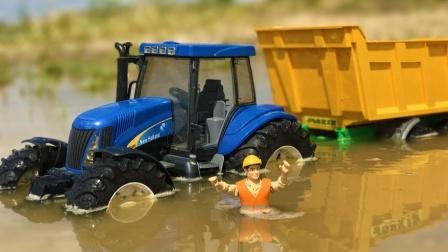 拖拉机玩具在农场运输钢管