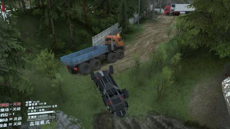 旋转轮胎:大力王卡车,把小皮卡车拉成四轮朝天