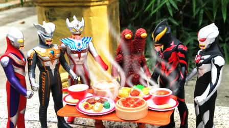 儿童玩具故事,贝利亚下厨房请暗黑欧布吃饭,巧遇8个奥特曼巡逻