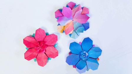 折纸教程:超好看的折纸花,夹书里做书签太合适啦