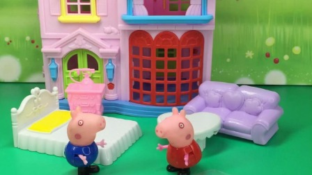 乔治玩贴画,把猪爸爸逗乐了