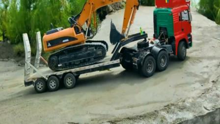 各种汽车工程车卡车在公路行驶 创意玩具