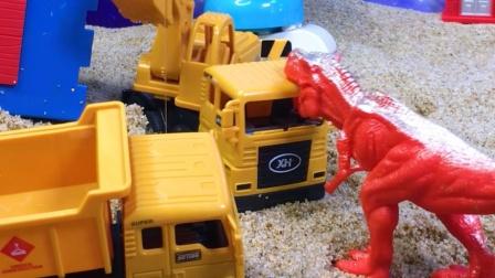工程车故事:恐龙气到暴走,是谁拆了它的家?