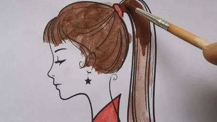 简笔画美少女