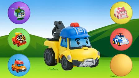变形警车珀利工程车早教,拖车,吊车,消防车
