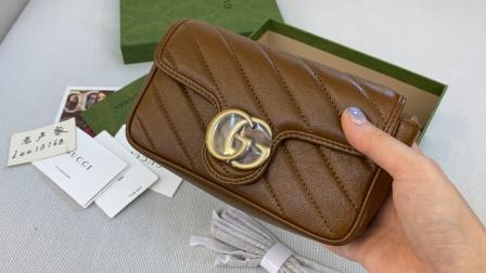 Gucci2021年最新Marmont系列超迷你焦糖色菱格链条包