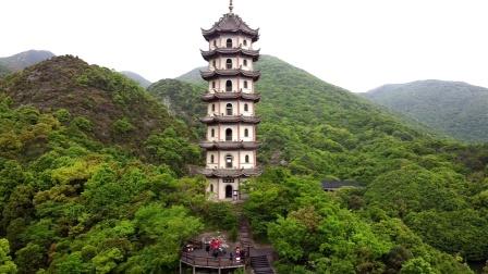 航拍:浙江、舟山、桃花岛、安期景区《金麟宝塔》