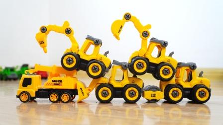 工程车玩具:挖掘机、压路机、钻地机、推土机,儿童汽车玩具模型