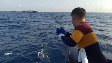 网红船长手线搏斗大金枪鱼过程,精彩好玩