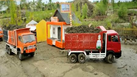 创意玩具 大卡车们运送泥土
