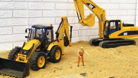 合金卡车运输推土机来到建筑工地