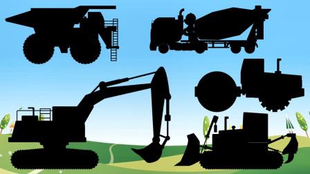 工程车排队打卡下班了,挖掘机,自卸大卡车和推土机