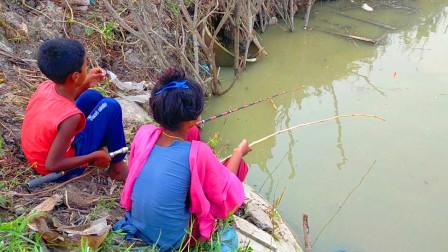 家里没肉下饭了,弟弟姐姐一起出来钓钓鱼,看看他们钓了多少?