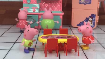 乔治想自己先吃饭,佩奇要等家人一起吃,你们赞成谁的做法呢?