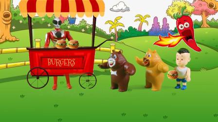儿童剧:怪兽假扮光头强骗汉堡,奥特曼一招让它现出原形
