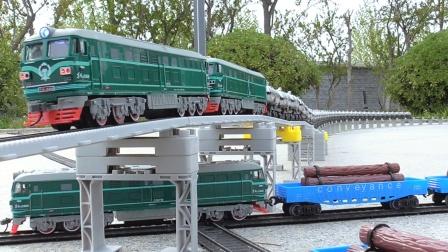 三列火车货运专列交叉驶入编组枢纽重组模拟