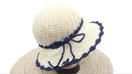 新款螺旋帽子编织#夏凉帽#合股线夏凉帽编织