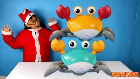 小泽玩横着走的电动螃蟹,可以感应障碍,还有大大的眼睛和大爪子