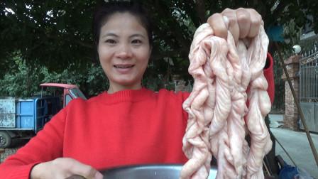 """正宗的广西硬菜""""生炒大肠""""做法,没有臭味,又嫩又脆,超好吃"""