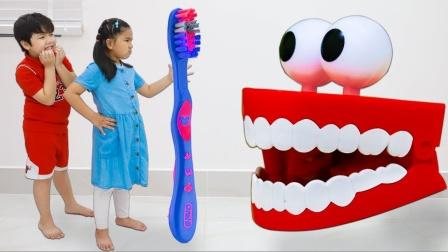 不爱干净的萌娃没刷牙,牙齿玩具找上门来