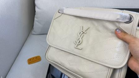 YSL圣罗兰Niki邮差包28cm奶白色复古白