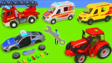 儿童早教玩具:消防车、拖拉机、警车、环卫车、挖掘机、救护车!