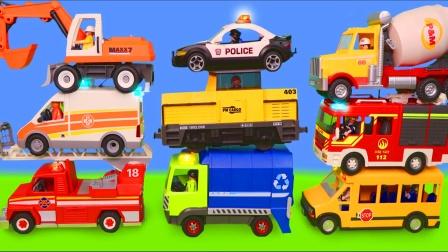儿童启蒙玩具认知:救护车、拖拉机、校车、挖掘机、消防车、飞机