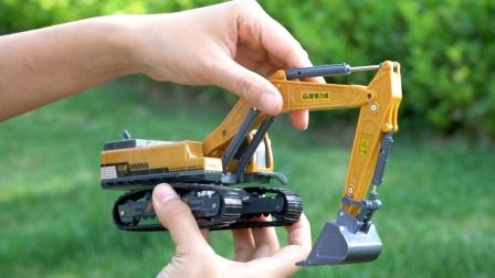 挖掘机工作表演,挖土机、压路机、大塔吊,合金工程汽车玩具模型