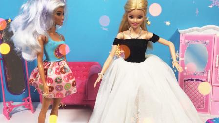 守护天使施展魔法,灰姑娘芭比穿上华丽的服装,还有漂亮的水晶鞋