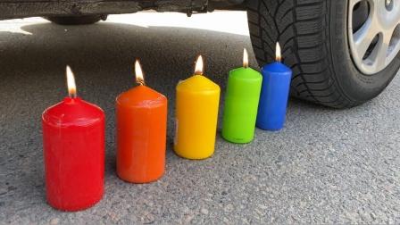 把粉丝、可乐、蜡烛放在车轮碾压,勿模仿