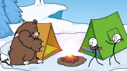 遇上大灰熊和雪崩 火柴人雪山寻宝