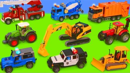 儿童早教玩具:挖掘机、搅拌车、环卫车、警车、救护车、消防车!