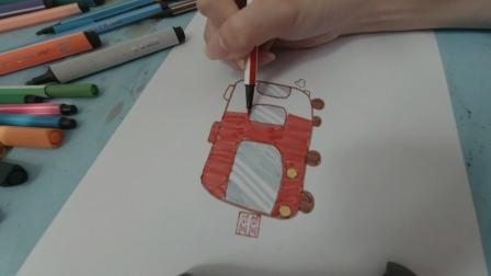 画一辆红色的大巴