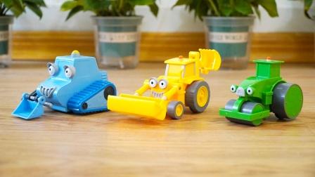 巴布工程师玩具车:挖掘机、推土机、压路机,儿童益智汽车模型