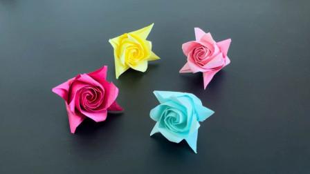 折纸教程:好看的玫瑰折纸,教你一种不打格子的偷懒折法