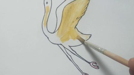 简笔画白鹤