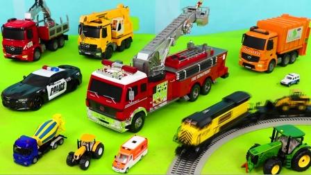 儿童启蒙玩具认知:消防车、铲车、环卫车、挖掘机、吊车、翻斗车