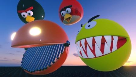 我的世界MC动画:红色机械吃豆人VS愤怒的小鸟黄色吃豆人