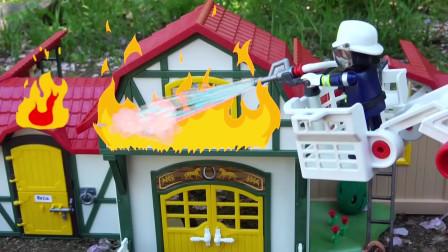 消防玩具车救火啦,还有新朋友