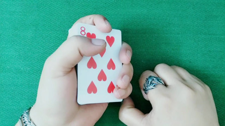 扑克手法教学,高手弹指瞬间变牌魔术,看上一遍就会