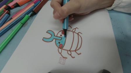 画一只蓝色的独角仙