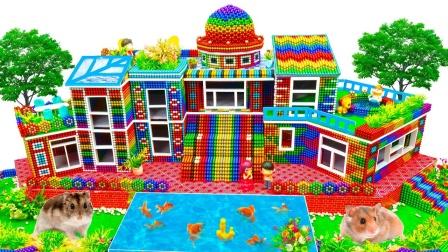 彩色巴克球玩具DIY迷你花园别墅模型