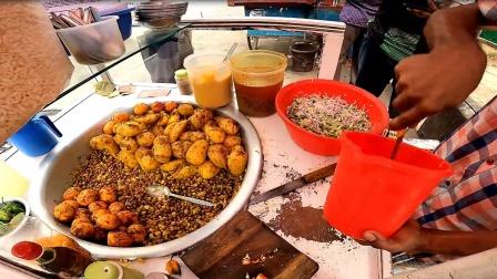 印度街头好吃的美食,咖喱土豆,一天能卖500多份