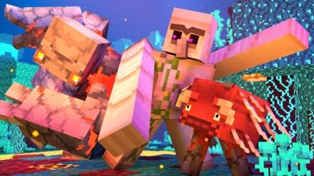 我的世界MC动画:铁傀儡守护炽足兽大战红石傀儡