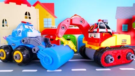 警车珀利和消防车罗伊的可拆卸玩具