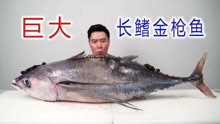 试吃一条52斤的超大长鳍金枪鱼,烤鱼脖外酥里嫩,香的不得了