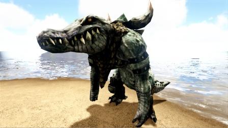 方舟生存进化:血统怪物 身穿银鳞胸甲 来自沼泽的鳄鱼战士